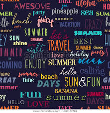 seamless pattern summer typography quotes colorful stock vector