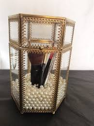 brass glass makeup brush holder with