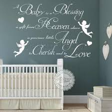 Boys Girls Nursery Wall Sticker A Baby Is A Blessing Bedroom Wall Quote Decor Decal