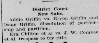 Dissolution of partnership between Addie Griffin and Byron & James Griffin  - Newspapers.com