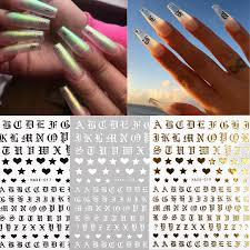 New Letter Design Fashion 3d Nail Sticker Decal Gold Letter Black Character Character Diy Decorations Art Nail Stencil Stickers Nails Stickers From Glass Smoke 0 51 Dhgate Com