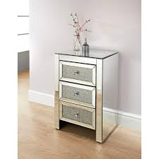 ariana mirrored 3 drawer bedside table