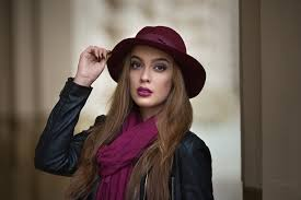 women model long hair red hat