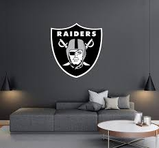 Oakland Raiders Football Team Logo Wall Decal Removable Reusable For Home Bedroom Wide 30x32 Height