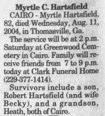 Myrtle Collins Hartsfield obit - Newspapers.com