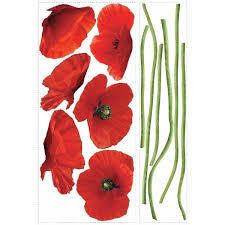 Roommates Poppies At Play Peel Stick Giant Wall Decals Rmk1729gm The Home Depot