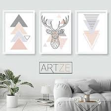 Set Of 3 Geometric Blush Pink Grey Wall Art Prints Stag Poster Large Ebay