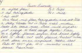 crisco biscuits recipe handwritten