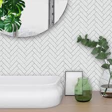 Funlife Self Adhesive Waterproof White Herringbone Tiles Kitchen Bathroom Furniture Tile Sticker Wall Decal 15 15cm 20 20cm Sticker Wall Decal Wall Decalstiles Kitchen Aliexpress