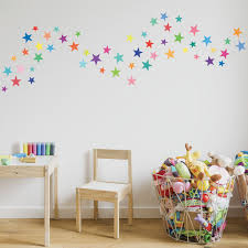 Wall Decals Stars Rainbow Colors Eco Friendly Fabric Removable Reusa