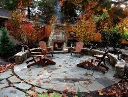 round flagstone patio with stone