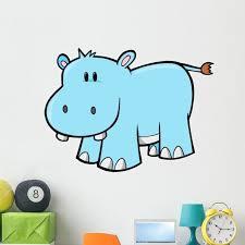 Cute Little Baby Hippo Wall Decal Sticker By Wallmonkeys Peel And Stick Graphic 48 In H X 37 In W Wm182285 Walmart Com Walmart Com