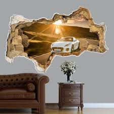 3d Wall Art Decal Racing Car 3d Wall Decor Sport Car 3d Etsy