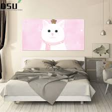 Cartoon Design Cute Cat Wall Stickers For Bedroom Headboard Wall Decal Lovely Style Art Mural Girls Room Bed Decor Home Decor Wallpapers Aliexpress