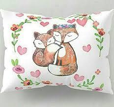 Penelope Fox Pillow Sham Watercolor Bedding Decorative Pillow Kawaii  Pastels Tween Gift pre Teen Gift Girls bedoom Pillow Pink Hearts Pillow:  Amazon.co.uk: Kitchen & Home