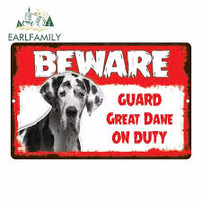 Earlfamily 13cm X 8 4cm Beware Guard Great Dane On Duty Dog Car Sticker Owner Novelty Notice Aluminum Metal Sign Pet Dog Decal Car Stickers Aliexpress