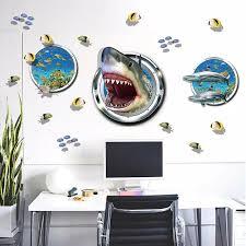 Amazing Underwater World Shark Fish Submarine Wall Stickers Decals Living Room Bedroom 3d Effect Home Decor For Boys Room Decor For Boys Room Home Decorwall Sticker Aliexpress
