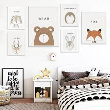 Simple Cartoon Animal Wall Decor Kids Wall Decor Kid Room Decor Kids Room Wall