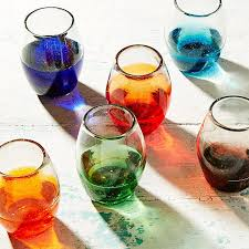 multicolor ombre stemless wine glass