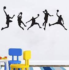 Amazon Com Basketball Players Wall Decals Slam Dunk Diy Wall Stickers For Kids Room Boys Bedroom 5 Pcs Baby
