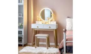 costway makeup vanity table set 3 color