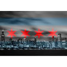 Chicago Flag Black White Skyline Wall Graphic Zapwalls