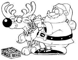 Kerstman Tuigt Hert Hert Op Kleurplaat Gratis Kleurplaten Printen