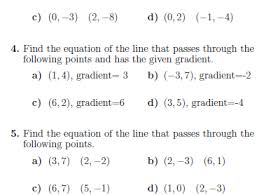 straight line equations worksheet with