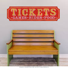 Tickets Games Rides Food Wall Decal At Retro Planet