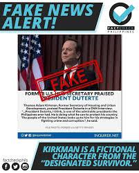 "Fact Check Philippines - 𝗘𝗡𝗚𝗟𝗜𝗦𝗛 FALSE! No, it is not true that a  Former US HUD Secretary praised President Rodrigo Duterte. The character on  the photo is Thomas Adam ""Tom"" Kirkman, the"