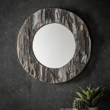 era rustic style driftwood round mirror