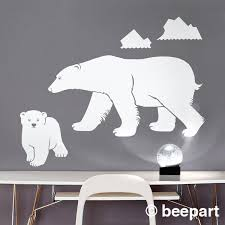 Polar Bear Wall Decal Mother Bear Sticker Bear Cub Sticker Arctic Animal Decor Bear Decal Nursery Decor Kids Room Art