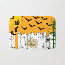 Black Cat On A Spooky Fence Halloween Bath Mat By Scotthervieux Society6