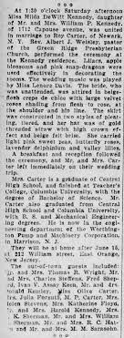 Roy Carter and Hilda Kennedy marriage The Scranton Republican 16 May 1927 -  Newspapers.com