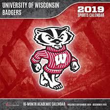 wisconsin badgers 2019 wall calendar