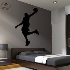 Basketball Player Dunking Wall Decal Silhouette Boy S Room Wall Art Sport Decal Basketball Design Deco Chambre Garcon Idee Chambre Enfant Chambre Loft
