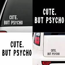 Cute But Psycho Funny Letters Car Vehicle Reflective Decals Sticker Decoration Car Stickers Aliexpress