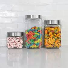 4 piece square glass canister set