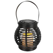 rattan solar powered led garden lantern