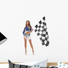 Brunette With Racing Flag Wall Decal Wallmonkeys Com
