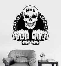 Vinyl Wall Decal Mma Martial Arts Fighting Skull Sports Fan Stickers Unique Gift Ig3263 Vinyl Wall Decals Vinyl Decals Skull Decal