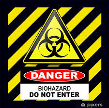 Biohazard Danger Sign Warning With Stripes Background Wall Mural Pixers We Live To Change