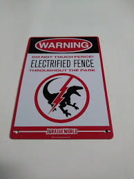 Jurassic Park Raptor Dinosaur Electric Fence Metal Warning Sign Ingen Brand New