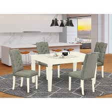 Shop Weel5 Whi 07 5 Pc Small Dining Table Set 4 Dining Chairs And Butterfly Leaf Dinner Table Button Tufted Linen White Finish Overstock 32085519