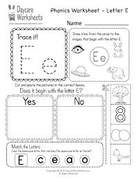 free letter e phonics worksheet for