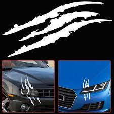 Universal White Car Headlight Scratch Stripe Decal Sticker Claw Stripe Slash Ebay