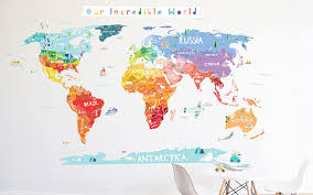 Amazon Com World Map Wall Decal Our Incredible World World Map Wall Decal With Personalization Stickers Wall Sticker Room Decor World Map Handmade