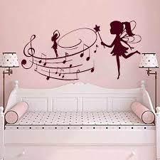Music Wall Decals Fairy With Music Note Wall Sticker Nursery Bedroom Girl Art Wall Mural Fairy Girl Style Wall Art Decor Ay984 Wall Stickers Aliexpress