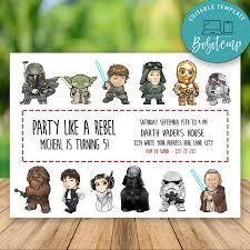 Invitacion De Cumpleanos De Personajes Originales Editables De Disney Star Wars Bobotemp