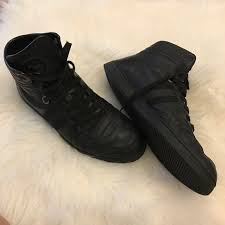 gucci shoes mens black leather high